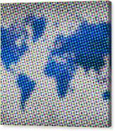 Dotted Blue World Map Canvas Print