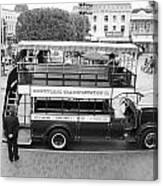 Double Decker Bus Main Street Disneyland Bw Canvas Print