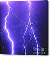 Double Triple Blue Lightning Canvas Print