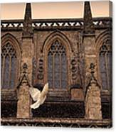 Dove Flying By Church Canvas Print