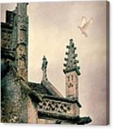 Dove Landing On Church Canvas Print