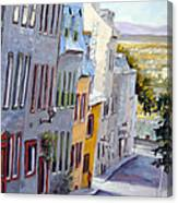 Down The Hill Old Quebec City Canvas Print