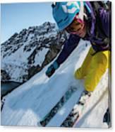Downhill Skiier In Portillo, Chile Canvas Print