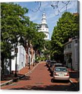 Downtown Annapolis With Maryland State House Cupola Canvas Print