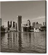 Downtown Baltimore Skyline Sepia Canvas Print