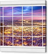 Downtown Boulder Colorado City Lights Sunrise  Window View 8lg Canvas Print