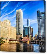 Downtown Chicago At Franklin Street Bridge Picture Canvas Print