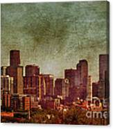 Downtown Denver Antiqued Postcard Canvas Print