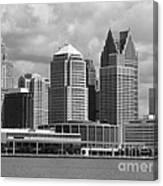 Downtown Detroit Riverfront Bw Canvas Print
