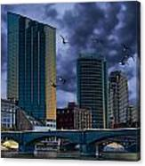 Downtown Grand Rapids Michigan By The Grand River With Gulls Canvas Print