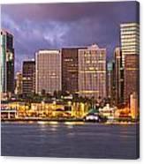 Downtown Honolulu Hawaii Dusk Skyline Canvas Print
