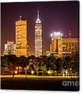 Downtown Indianapolis Skyline At Night Picture Canvas Print