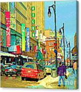 Downtown Montreal Eatons Centre Complex Les Ailes Old Navy Rue Mcgill College City Scenes  C Spandau Canvas Print