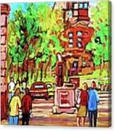 Downtown Montreal Mcgill University Streetscenes Canvas Print