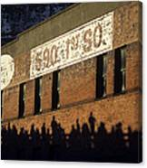 Downtown Seattle With Silhouetted Runners On Brick Wall Early Mo Canvas Print