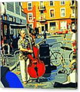 Downtown Street Musicians Perform At The Coffee Shop With Cool Tones On A Hot Summer Day Canvas Print