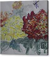 Dragonfly Among Chrysanthemums Canvas Print
