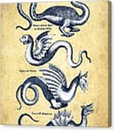 Dragons - Historiae Naturalis  - 1657 - Vintage Canvas Print