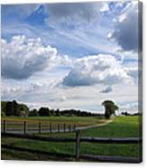 Dramatic Blustery Sky Over The Hayfield Canvas Print