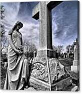 Dramatic Gravestone With Cross And Guardian Angel Canvas Print