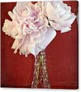 Dramatic Peonies Over Red Canvas Print