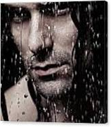 Dramatic Portrait Of Young Man Wet Face With Long Hair Canvas Print