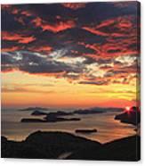 Dramatic Sunset Over Dubrovnik Croatia Canvas Print