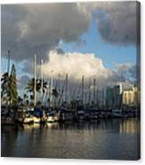 Dramatic Tropical Storm Light Over Honolulu Hawaii  Canvas Print