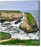 Dramatic View Of Shark Fin Cove In Santa Cruz California. Canvas Print