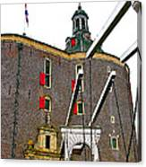 Drawbridge And Tower In Enkhuizen-netherlands Canvas Print