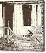 Drawing Of An Old House With Porch In Brown 3000.04 Canvas Print