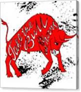 Drawing Red Angry Bull On The Grunge Canvas Print