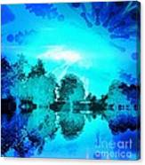 Dream Blue Landscape With Kaleidoscopic Blue Sun Canvas Print