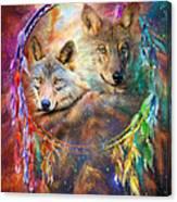 Dream Catcher - Wolf Spirits Canvas Print