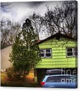 Suburban Dream - House With Blue Car Canvas Print