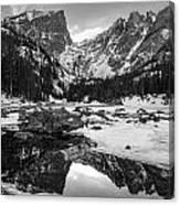 Dream Lake Reflection Black And White Canvas Print