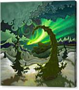 Dream Landscapes Aurora Green Canvas Print