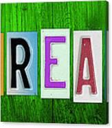 Dream License Plate Letter Vintage Phrase Artwork On Green Canvas Print