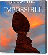 Dream The Impossible Card Poster Two Canvas Print