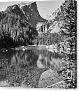 Dreaming At Dream Lake - Black And White Canvas Print