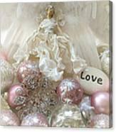 Dreamy Angel Christmas Holiday Shabby Chic Love Print - Holiday Angel Art Romantic Holiday Ornaments Canvas Print