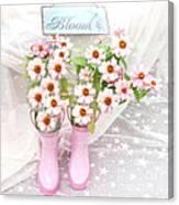 Dreamy Cottage Garden Art - Shabby Chic Pink Flowers Garden Bloom With Pink Rain Boots Canvas Print