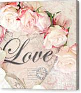 Dreamy Shabby Chic Roses Heart With Love - Love Typography Heart Romantic Cottage Chic Love Prints Canvas Print