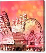 Surreal Hot Pink Orange Carnival Festival Cotton Candy Stand Candy Apples Ferris Wheel Art Canvas Print