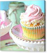 Dreamy Shabby Chic Cupcake Vintage Romantic Food And Floral Photography - Pink Teal Aqua Blue  Canvas Print