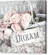Dreamy Shabby Chic Romantic Cottage Chic Roses In White Basket  Canvas Print
