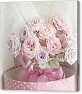 Dreamy Shabby Chic Roses In Pink Polka Dot Hat Box - Romantic Roses Floral Bouquet Canvas Print