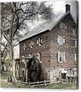 Dreary Skies At Kerr Gristmill Canvas Print