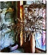 Dried Flowers On Windowsill Canvas Print
