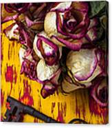 Dried Pink Roses And Key Canvas Print